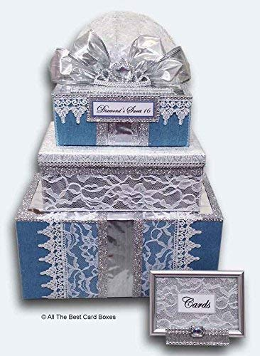 Sweet 16, Quinceanera or Wedding Card Box with Slot, Tiara, Blue Denim, Lace, three tiers, Handmade personalized, All The Best Card Boxes
