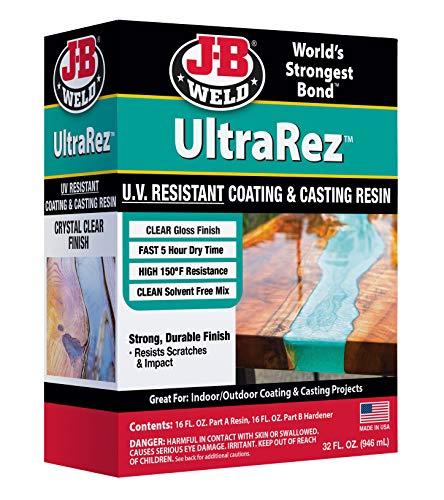 J-B Weld 43032 UltraRez UV Resistant Resin, Epoxy Resin, Art Resin, Crystal Clear Non- Yellowing, 32 fl. Oz. Kit, Clear