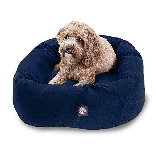 Majestic Pet 32' Navy Velvet Bagel Dog Bed