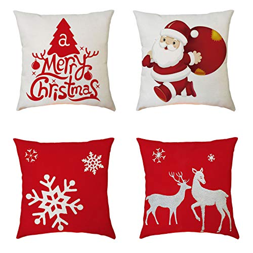 LANJIA 4 Pack of Christmas Pillow Covers 18x18Inches Christmas Decorations Happy Decorative Sofa Pillowcase,Super-Soft Short Plush Fabric Christmas Decorative Couch Pillow Cases Cotton Linen