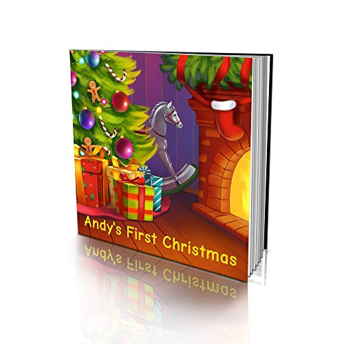 "Personalized Story Book by Dinkleboo -""First Christmas"" - for Kids Aged 2 to 8 Years Old - A Story About Your Child's First Christmas - Smooth Satin Paper - Soft Cover (8""x 8"")"