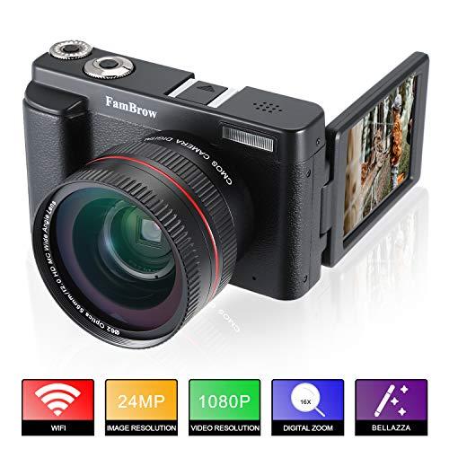 Fotocamera Digitale e Videocamera,FamBrow Full HD 1080P WiFi Camcorder 24MP 16x Zoom Digitale Macchina Fotografica con Obiettivo Grandangolare,3.0 Pollici Rotazione Schermo LCD