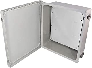 Altelix 14x12x6 NEMA 4X FRP Fiberglass Weatherproof Enclosure with Aluminum Equipment Mounting Plate, Hinged Lid & Stainless Steel Latches