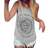 Mujer Camiseta,Sonnena Patrón de Sol Estampado sin Manga Camiseta para Mujer y Chica Joven Casual Sexy Traje de Verano Fresco para Citas Actividades al Aire Libre (S, Gris)