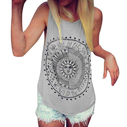 Mujer Camiseta,Sonnena Patrón de Sol Estampado sin Manga Camiseta para Mujer y Chica...