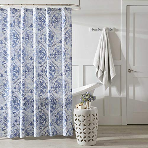 """Laura Ashley Mila Collection Shower Curtain-100% Cotton, Machine Washable for Easy Care, Blue, 72"""" X 72"""""""
