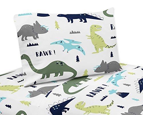 4 Piece Queen Sheet Set for Blue and Green Modern Dinosaur Bedding Collection