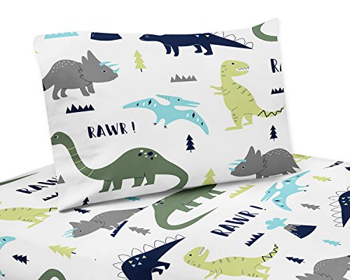 Sweet Jojo Designs 3-Piece Twin Sheet Set for Blue and Green Modern Dinosaur Bedding Collection