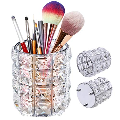 XCOZU Maquillage Organisateur en Cristal, Rond rganisateur pinceaux maquillage pour pinceaux, pinceaux à Sourcils, Porte-Crayons organisateur de maquillage pour cosmétiques, Argenté