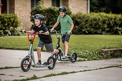 Mongoose Trace Youth/Adult Kick Scooter Folding and Non-Folding Design, Regular, Lighted, and Air Filled Wheels, Multiple Colors, Silver (R6331AZ)