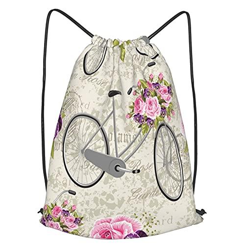AndrewTop Bolsa Cuerdas con cordón impermeable Unisex,Patrón floral con rosas rosadas y bicicleta en postal vintage,LigeroCasual ,Deporte Gimnasio Mochilas