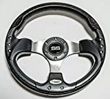 Huskey 13 Inch Sports Style Carbon Fiber Steering Wheel For EZGO,Yamaha and Club Car With brushed aluminum Spokes-SS Logo and Polyurethane Grip