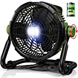 Floor Fan Battery Operated with Light - Portable Outdoor Fan with 1000LM LED Work Light   3500CFM High Velocity Airflow   14400mAh Battery Powered Fan for Jobsite & Industrial