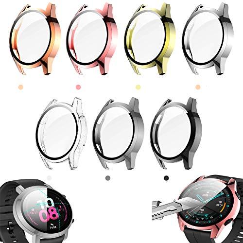 FitTurn Displayschutzfolie kompatibel mit Huawei Watch GT2 42 mm & 46 mm mit HD-Hartglas-Schutzhülle, [plattierter Metall-Farberahmen] [3D-Vollabdeckung] Schutzhülle (SevenColors, GT2 42 mm)