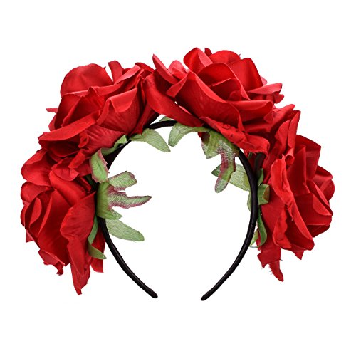 DDazzling Women's Oversized Large Rose Flower Headband Floral Crown Wreath Garland Halo Hairpiece (Red)