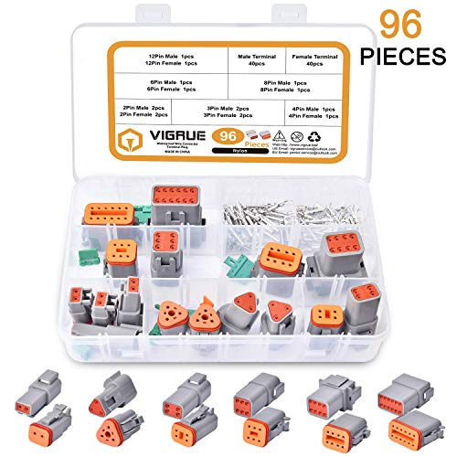 Electrical Wire Connector Plug - VIGRUE 96pcs 8 Sets 2 3 4 6 8 12 Pin 22-16AWG Waterproof Sealed Auto Gray Male and Female Terminal Connectors for Motorcycle,Truck, Car, Boats,Scooter