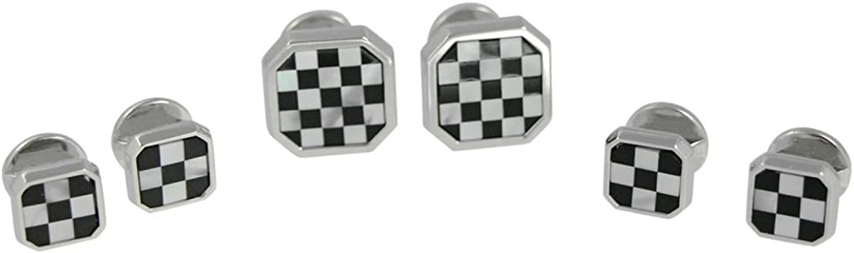 Square Mother of Pearl and Onyx Shirt Stud Cufflinks Set