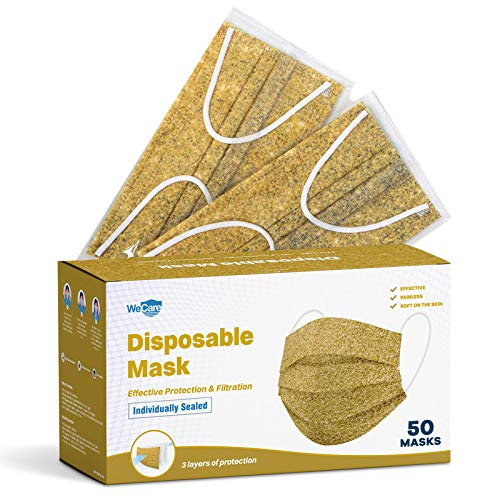 WeCare Disposable Face Mask Individually Wrapped - 50 Pack, Marble Gold Masks - 3 Ply