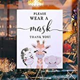 Please Wear Face Mask Sign Decals Cute Animals Masks Required Safety Social Distancing Wall Windows No Mask No Entry Vinyl Stickers 8'×10' for Business 5 Pack