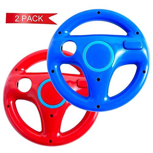 DOYO 2 Stücke Rot und Blau Wii Controller für Nintendo Wii,Lenkrad Racing Wheel für Mario Kart,Panzer,mehr Wii oder Wii Lenkspiele