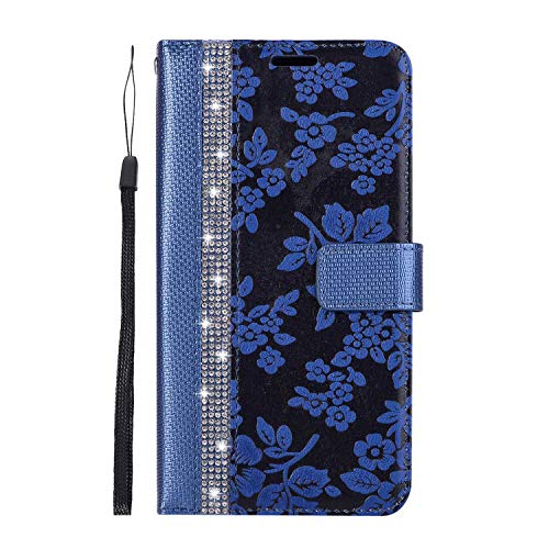 iPhone XR Hülle, SONWO PU Leder Brieftasche Flip Schutzhülle, TPU Bumper Flip Schutzhülle Kompatibel Apple iPhone XR mit Karte Schlitz, Blau