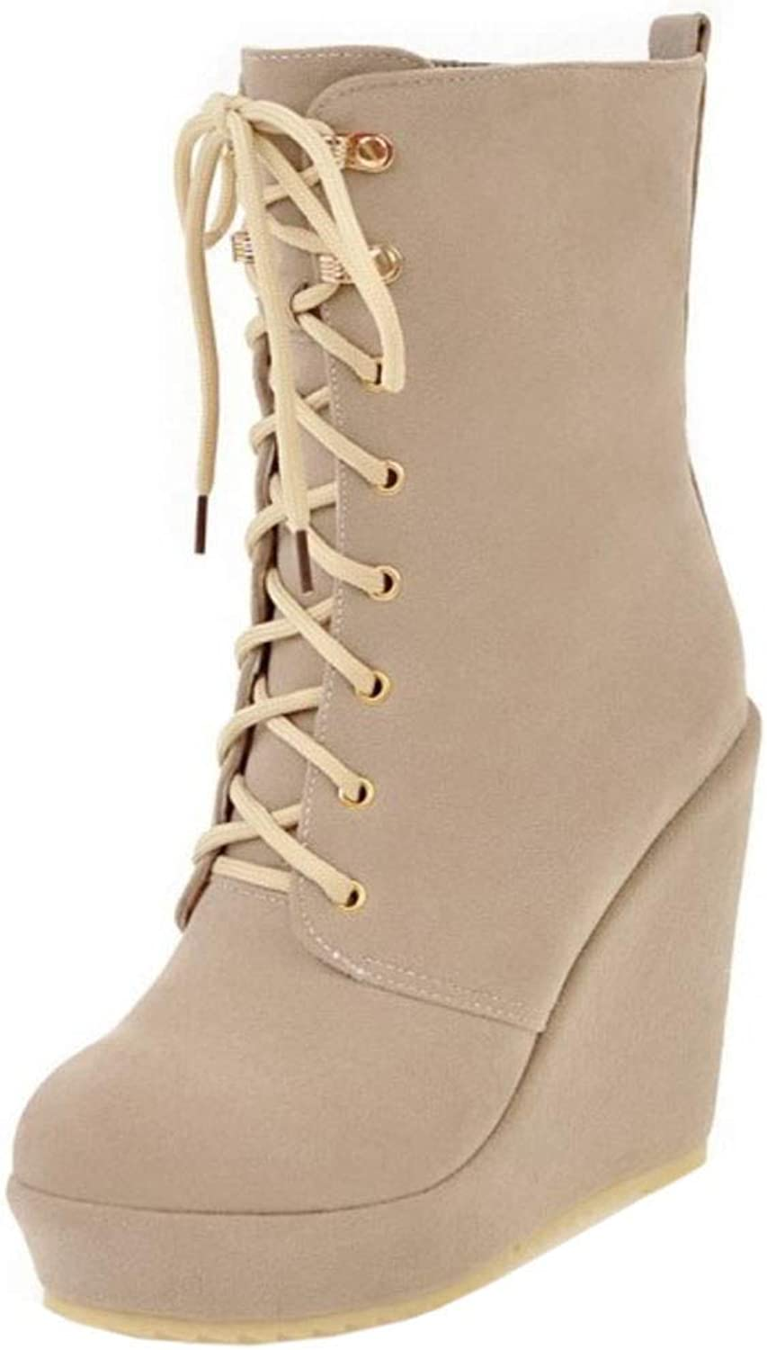 Melady Fashion Wedges Heels Bootie Lace up