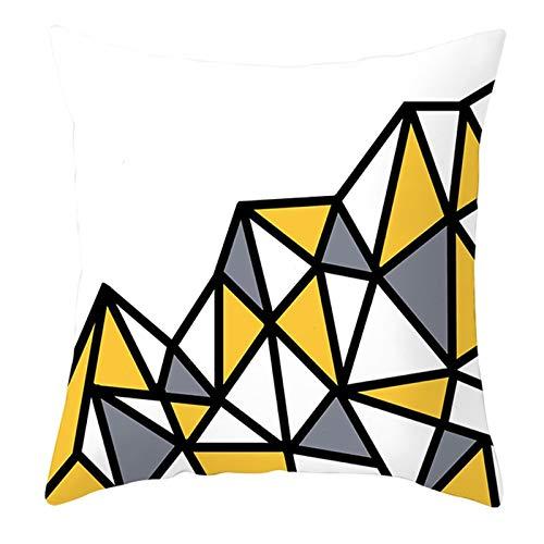 KnBoB Funda Cojin 50 x 50 cm Celosía de Corazón Triangular Poliéster Blanco Amarillo Gris Estilo 1