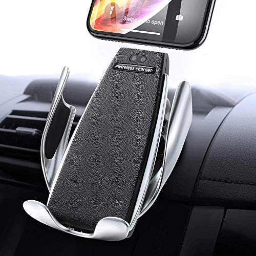 Wireless Smart Sensor Car Charger Mount, IR Intelligent Sensing Auto Clamping 10 W Fast Charging Air Vent Mount Holder for iPhone Xs Max/XR/X/8/8Plus Samsung S9/S8/Note8 & Qi-Enabled Devices (Black1)