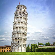 Yeele 5x5ft Thin Photography Background Italy Leaning Tower of Pisa Aristotle Grass Field Famous Outdoor Scenery Children Baby Portraits Backdrop Photo Booth Shooting Vinyl Wallpaper Studio Props