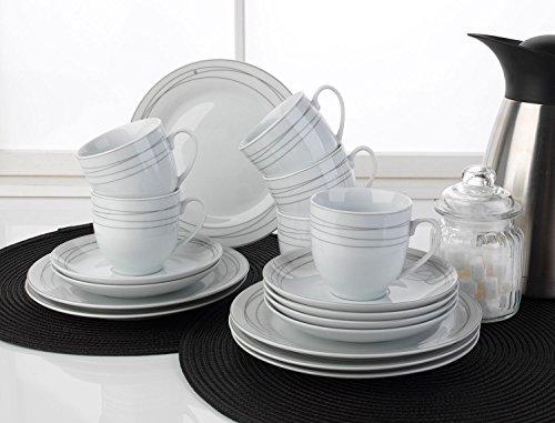 Home4You Kaffee-Service Kaffeegeschirr Geschirrset | 18-TLG. (6 Personen) | Weiß-Grau | Porzellan