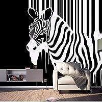 Djskhf 3Dレトロ壁紙ノスタルジックな抽象的な黒と白のゼブラ子供壁紙装飾壁画 280X200Cm