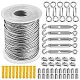 56 unids/set 30 m 2 mm cable de acero inoxidable cable ganchos kit para colgar, cable de acero inoxidable 304 resistente recubierto de PVC, tensor de cable tensor