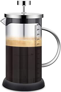 Cafetera Francesa - French Press, 600ML Prensa Francesa con Triple Filtro Embolo Fabricada con Acero Inoxidable - Cafetera Filtro con Acabado para Casa, Cocina, Oficina y Viajar