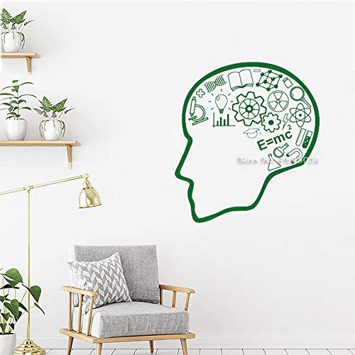 zhuziji Schule Wissenschaft Wand Vinyl Applique Eon Gehirn Aufkleber Büro Interieur Klassenzimmer Wohnkultur Wandaufkleber Tapete63x70,5 cm