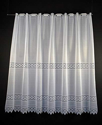 Scheibengardine Jacquard grafisch 120 cm hoch | Breite der Gardine durch gekaufte Menge in 13 cm Schritten wählbar (Anfertigung nach Maß) | Weiß | Vorhang Küche Wohnzimmer