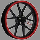 Autodomy Pegatinas Llantas Moto Reflectante Sport Juego Completo para 2 Llantas de 15' a 19' Pulgadas (Rojo Reflectante, Ancho 10 mm)