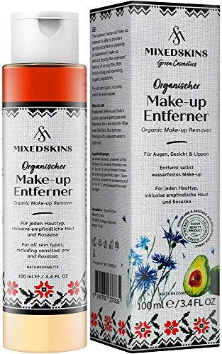 MIXEDSKINS Augenmakeup Entferner und Make-up Entferner - vegan, pflegend und natürlich, Make Up wasserfest Gesicht für Hautreinigung