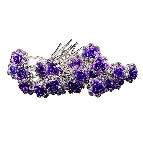 Outflower. 20Pcs Femmes Bridal Clear Crystal Rhinestone Rose Flower Clips de Cheveux Accessoires pour Cheveux Jewelry Hairpins (Violet)