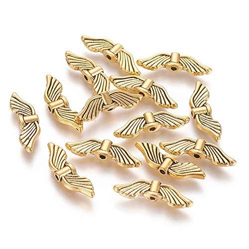 20 perlas de metal con alas de ángel, 20 mm, color dorado, para hacer pulseras, collares