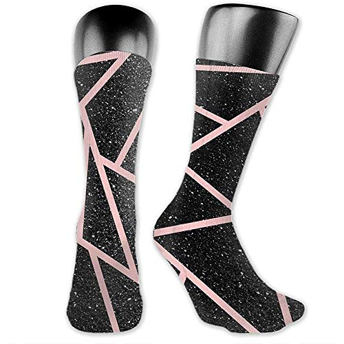 chongha sportsokken voor heren, Crazy Fun Colourful Compression Crew Socks - abstract geometrisch behang met zwarte glitter