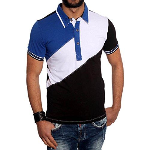KICKDOWN Hemd Slim Fit Kurzarm Polo Shirt Herren Poloshirt T-Shirt Kd-2504, Farbe:Blau/Weiss/Schwarz;Größen:L