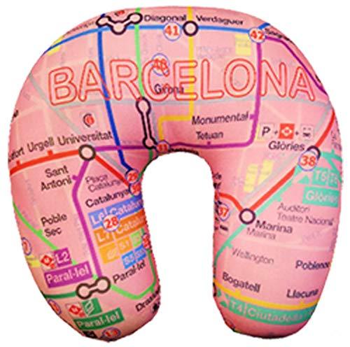 Almohada de Viaje complemento Ideal para Coche y Avion Metro Barcelona Rosa