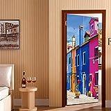 Atiehua Venecia Street Hall 3D Pegatinas De Puerta Pvc Papel Pintado Autoadhesivo Diy Impermeable Pegatinas De Pared Para Sala De Estar Dormitorio