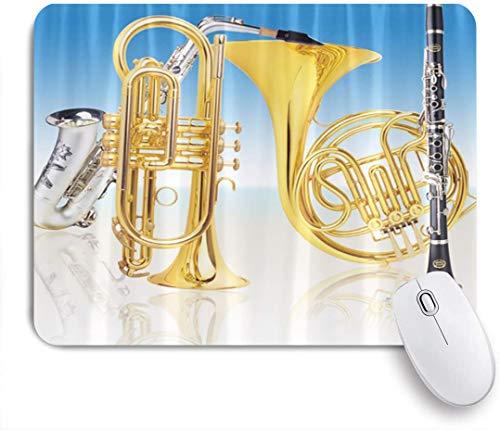 HUAYEXI Stoff Mousepad,Musik Musikinstrumente Kunst mit Trompete im blau weißen Hintergrund,Rutschfest eeignet für Büro und Gaming Maus