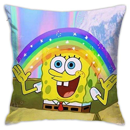 chenjian Spongebob Rainbow Throw Pillow Covers 18'X 18'Inch Square Shape Decorative Cushion Cover for Couch Sofa Pillow Set