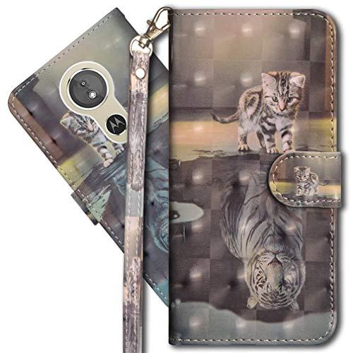 MRSTER Moto G5S Plus Handytasche, Leder Schutzhülle Brieftasche Hülle Flip Hülle 3D Muster Cover mit Kartenfach Magnet Tasche Handyhüllen für Motorola Moto G5S Plus. YX 3D - Cat Tiger
