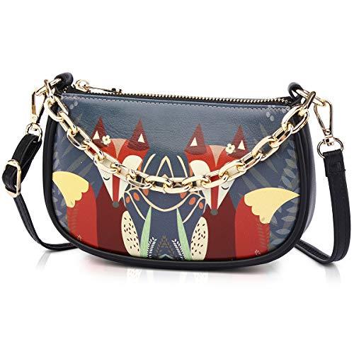 APHISON Women's Crossbody Bag Crescent Shape PU Leather Handbag Casual Mini Shoulder Bag Cartoon Pattern 1940