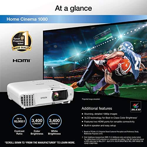 Epson Home Cinema 1080 3-chip 3LCD 1080p Projector, Streaming Projector, Home Theater Projector, Built-in Speaker, Auto Keystone Adjustment, 16,000:1 Contrast Ratio, HDMI, White, Medium Nevada