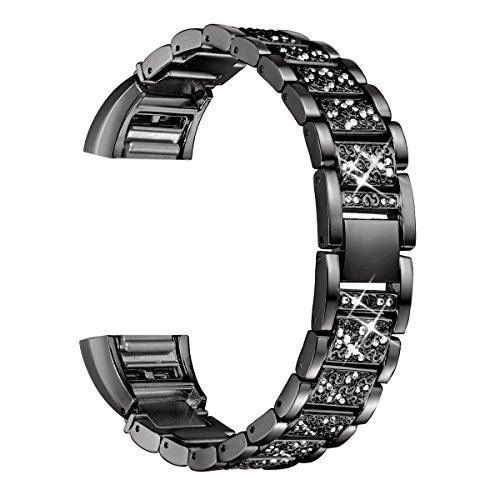 bayite Bling Bands Compatible Fitbit Charge 2, Replacement Metal Bands with Rhinestone Bracelet, Black
