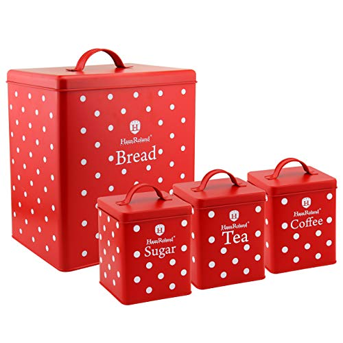 HausRoland Bread Box for Kitchen Counter Stainless Steel Bread Bin Multi Coloured Polka Dot Storage Container For Loaves Pastries Dry Food (Red, GS-03605-A403)